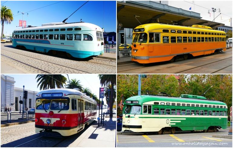 Trams colorés de San Francisco en Californie