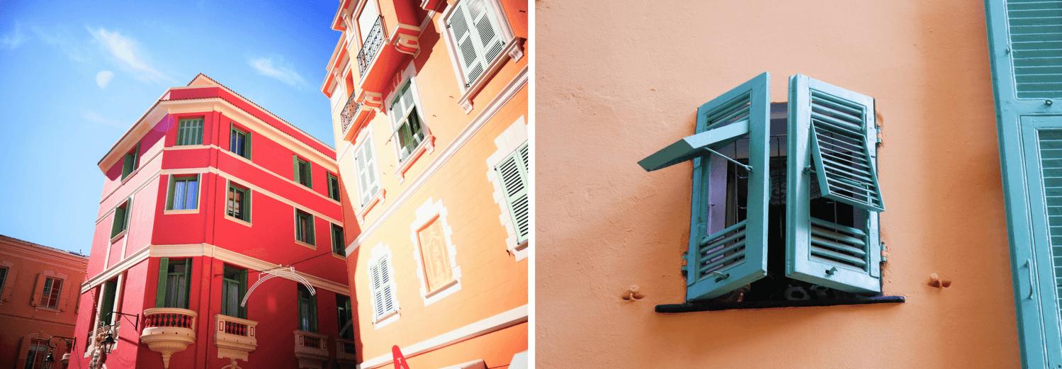 Façades de la vieille ville de Monaco sur le Rocher