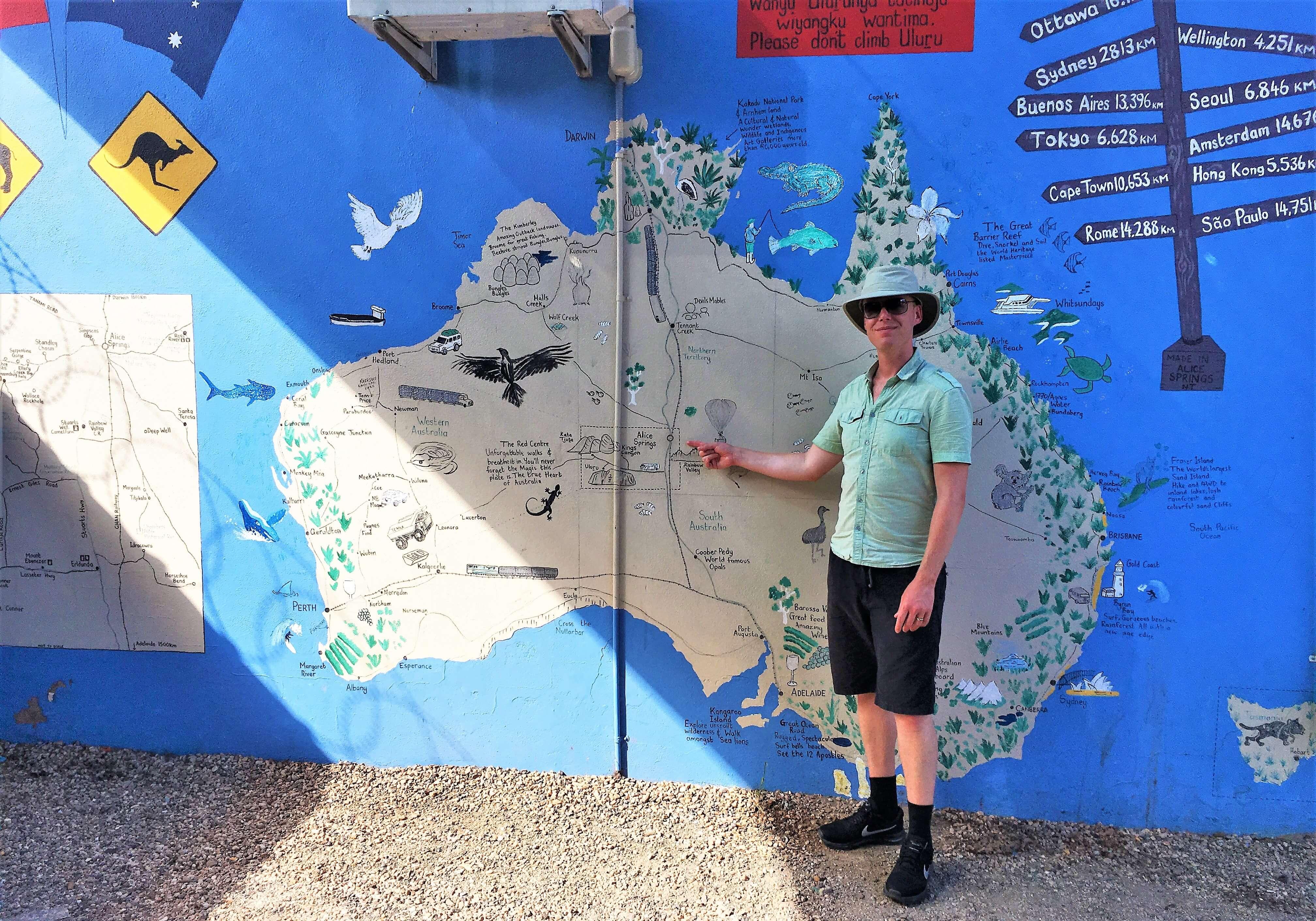 Carte de l'Australie pour un tourdumondiste