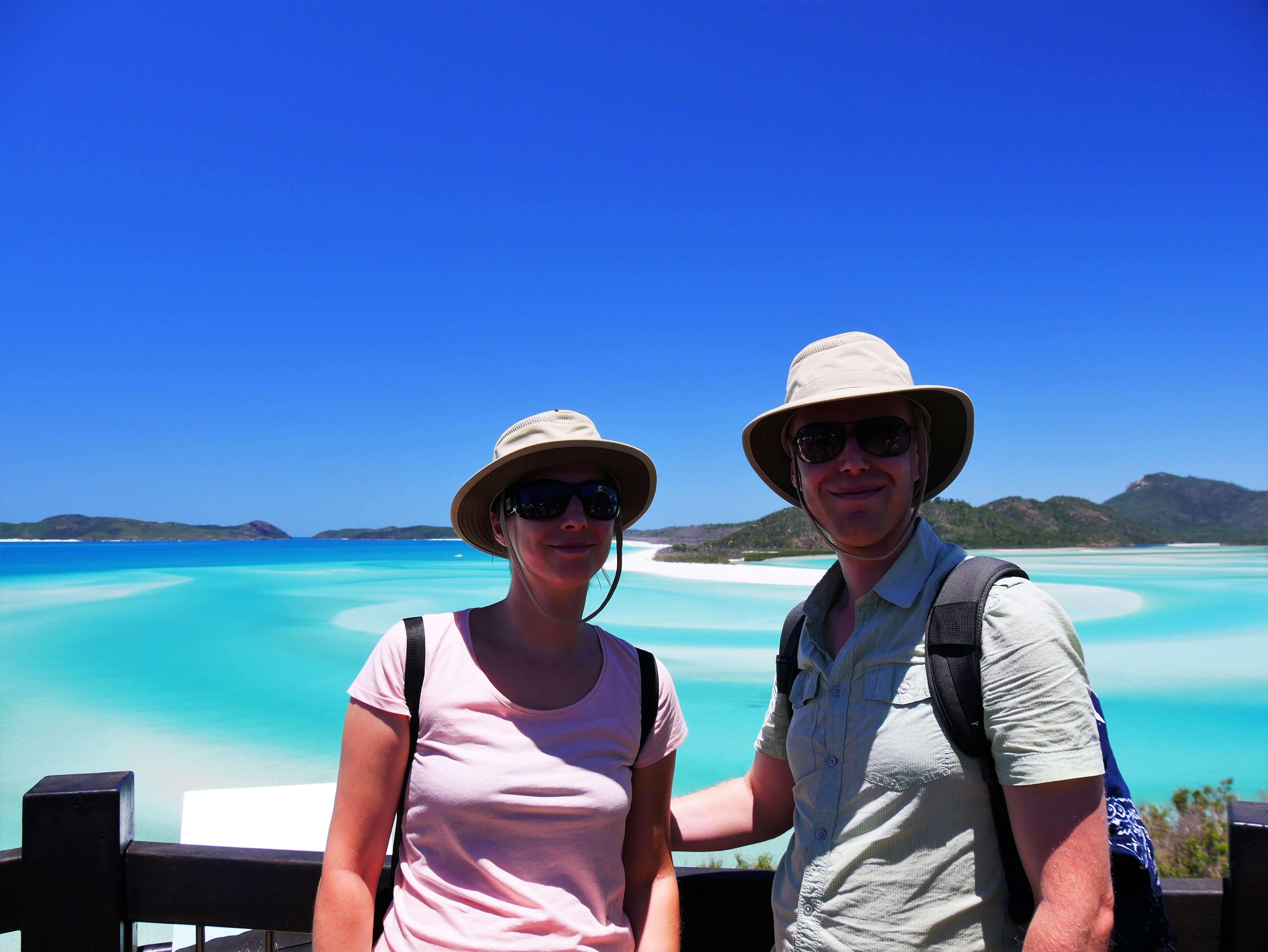 Nous devant la plage Whitehaven au Hill Inlet Lookout