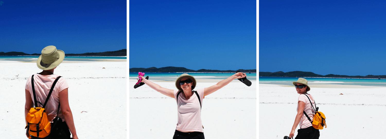 Sur la plage balanche éclatante sur les iles Whitsundays