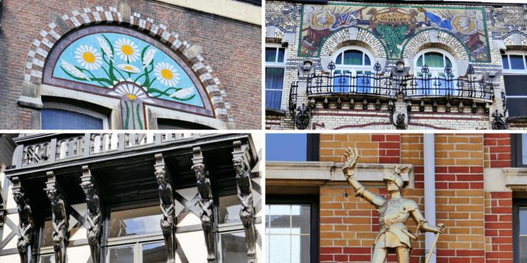 Détails des maisons art-déco du quartier de Zurenborg à Anvers