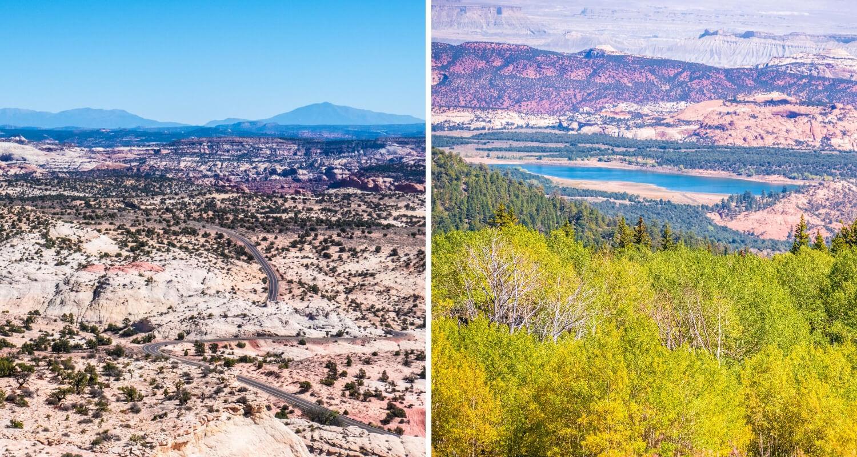 Points de vue sur la route 12 dans l'Utah