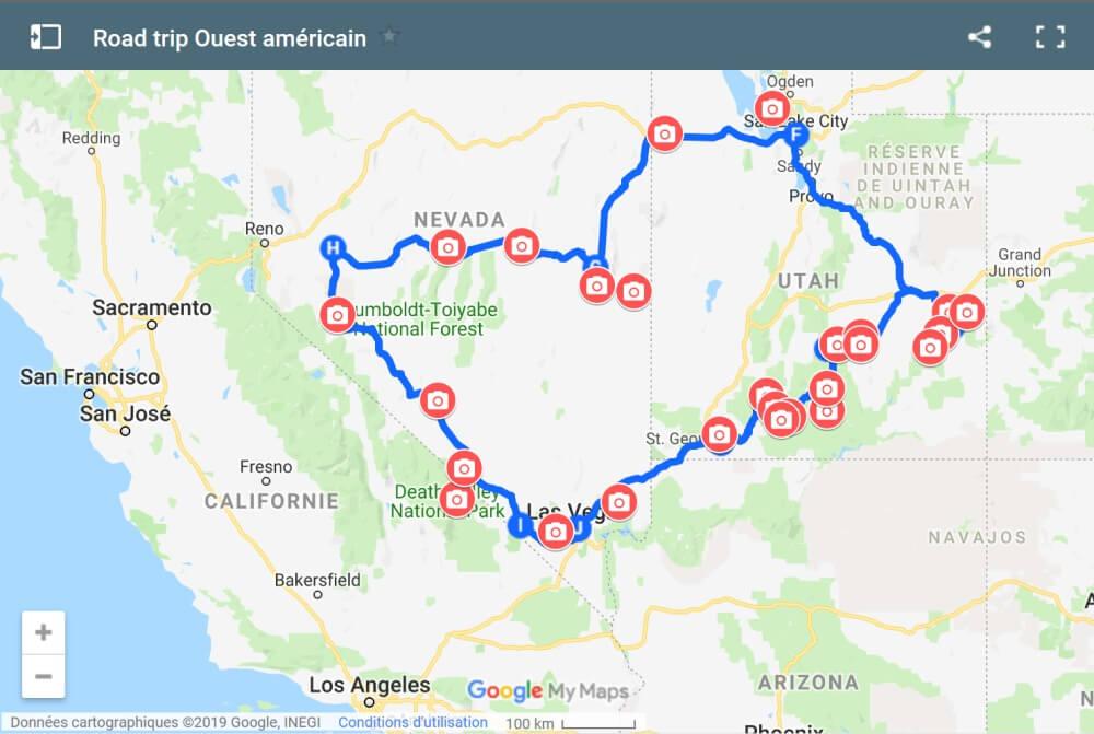 Road trip ouest américain itinéraire