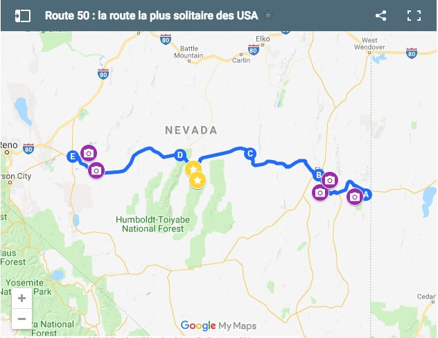Carte route 50 Nevada, route la plus solitaire d'Amérique