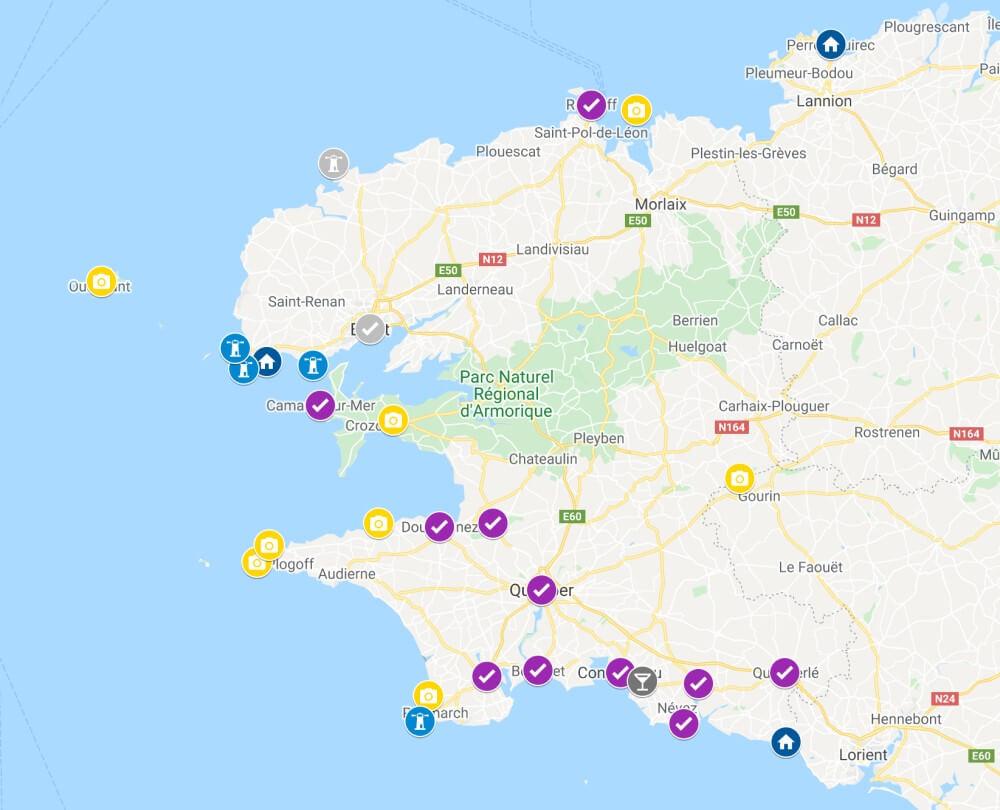 Carte visiter le Finistère
